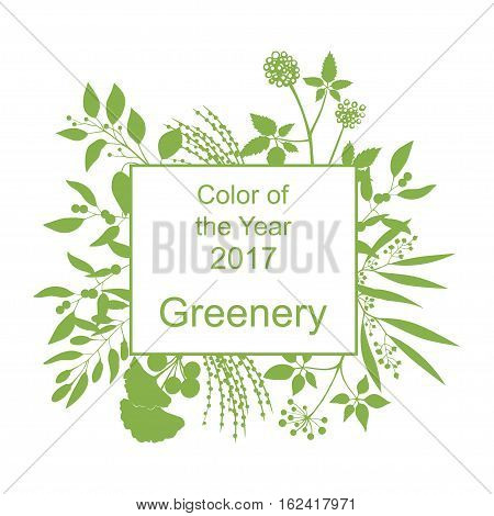 Color of the year 2017. Greenery trendy background with frame and silhouette of branches isolated on white