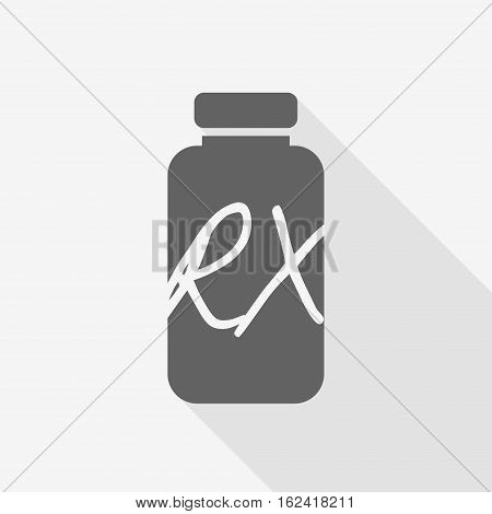 Receipt vial pill bottle with shadow and lettering rx. Vector illustration