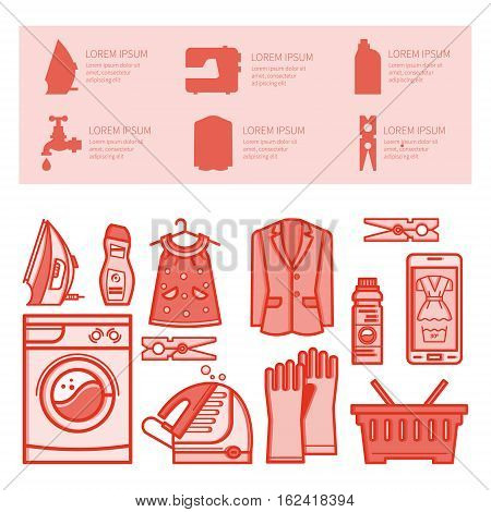 Illustration laundry room - washing machine, laundry basket, laundry detergent made in fashionable style vector lines. Laundry room - graphic for posters, banners, web sites. poster