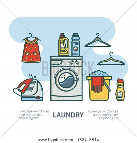 Illustration laundry room - washing machine, laundry basket, laundry detergent made in fashionable style vector lines. Laundry room - graphic for posters, banners, web sites.