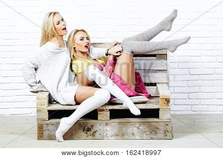 Sexy Girls In Sweaters And Socks