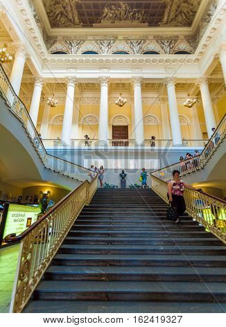 Saint Petersburg, Russia - July 26, 2014:  Tourists Climb The Main Staircase Of The Russian Museum