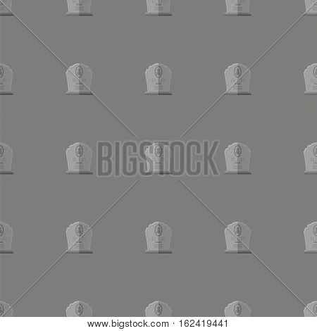 Gravestone Seamless Pattern on Grey Background. Granitic Stone Monuments on Halloween Cemetery. Grave Template.