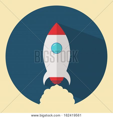 Rocket ship in a flat style. Logo of project start up and development process. Space rocket launch. Vector illustration