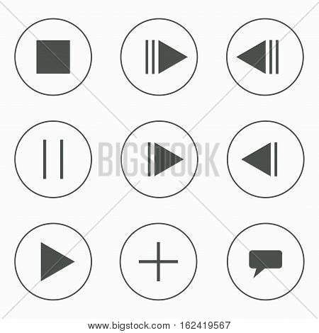 Set of music video buttons. Play pause stop forward chat back add. Buttons in circles. Vector illustration