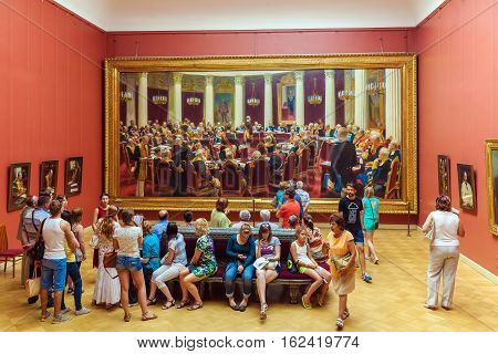 Saint Petersburg, Russia - July 26, 2014:  Visitors To The Interior Of The Russian Museum Near