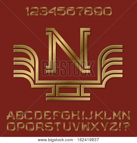 Golden angular letters and numbers of two stripes. Monogram with wings. Fashion presentable font kit for logo design.