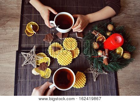 Christmas composition with tea and waffles baked, pasqua, food, year