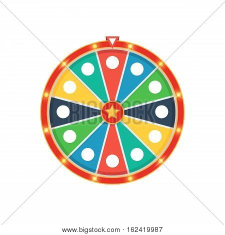 Colorful fortune wheel with lights. Vector illustration isolated on white background