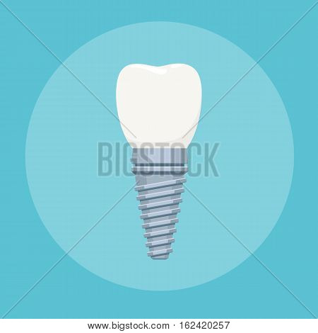 Dental implant. Stomatology prosthesis, implantation concept. Vector illustration for web design, poster or advertising brochure
