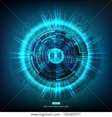 Abstract technology energy circles and digital light vector background