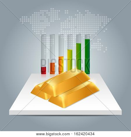 Gold Price Concept. Gold Price Growing Up Graph With World Map Background.
