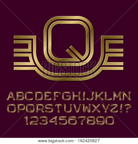 Golden double line letters and numbers with initial monogram with wings. Beautiful presentable font kit for logo design.