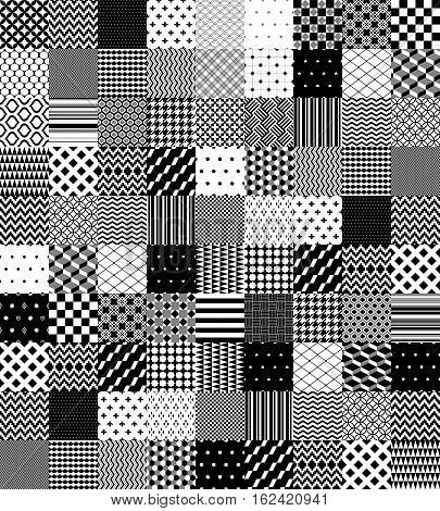 Black and white patchwork quilted geometric seamless pattern, vector background