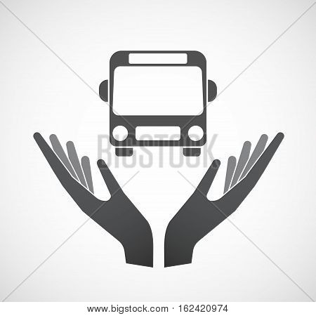Isolated Hands Offering  A Bus Icon