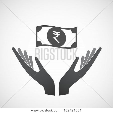 Isolated Hands Offering  A Rupee Bank Note Icon