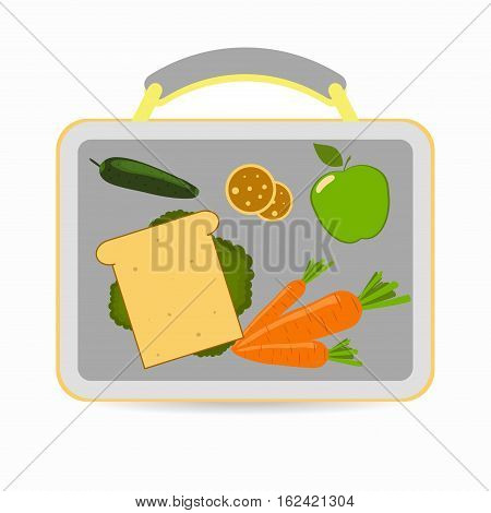 Lunchbox with school lunch: sandwich carrots apple cucumber cookies. Vector illustration
