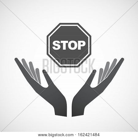 Isolated Hands Offering  A Stop Signal