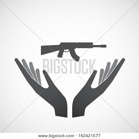 Isolated Hands Offering  A Machine Gun Sign