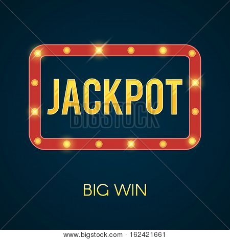 Jackpot banner with glowing lamps. Shining lights on frame. Vector illustration template for poker, roulette, slot machines, cards, online casino, mobile game