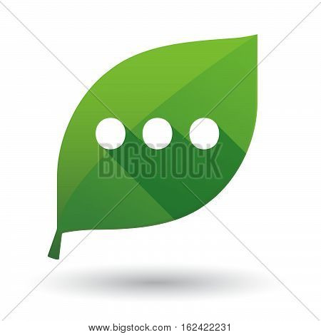 Isolated Green Leaf With  An Ellipsis Orthographic Sign