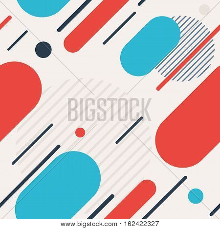 Trendy seamless pattern with colourful dynamic line and circles. Vector background in flat style for design on web site, banner or poster