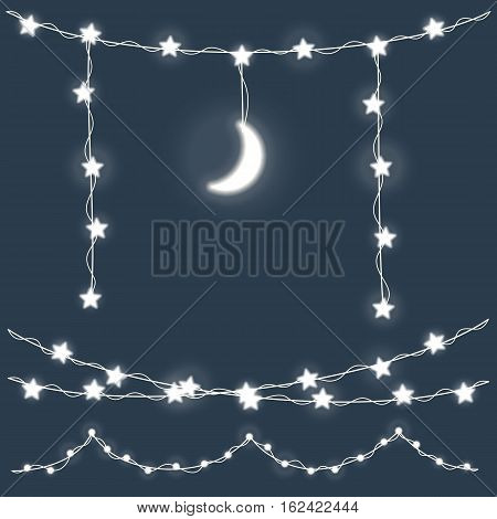 Set of garland with stars and moon. Christmas lights. Bright holiday lights. Vector holiday elements illustration template for web design or greeting card