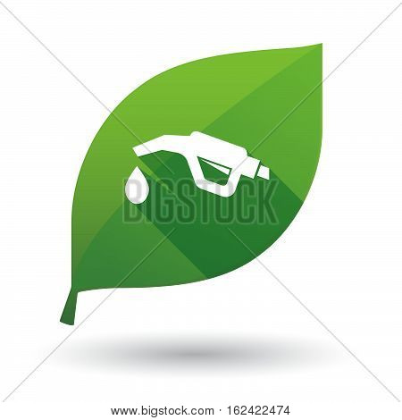 Isolated Green Leaf With  A Gas Hose Icon