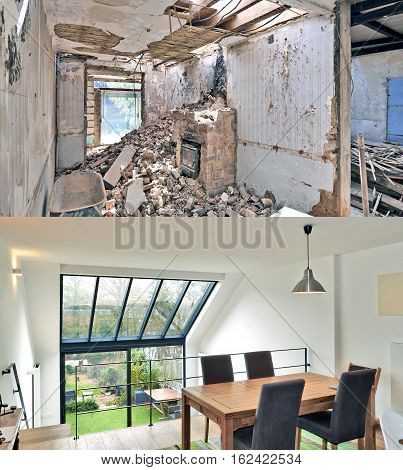 Renovation Of A Modern Duplex With Large Windows.