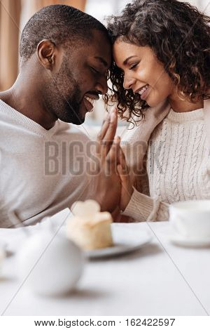 And let the whole world wait. Smiling peaceful positive African American couple sitting in the cafe and touching hands of each other while expressing peacefulness and love