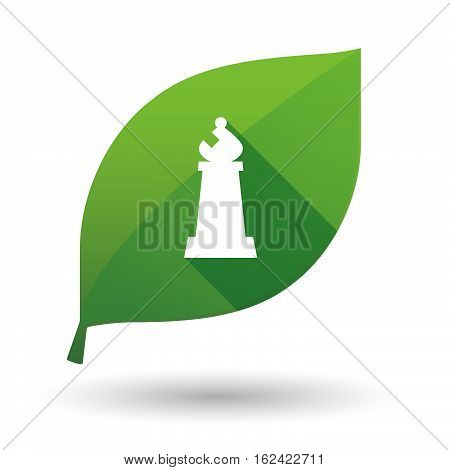Isolated Green Leaf With A Bishop    Chess Figure