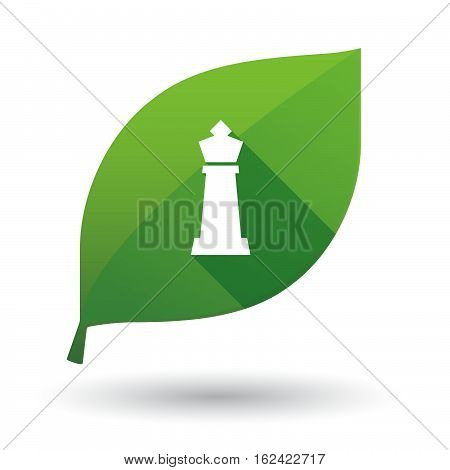 Isolated Green Leaf With A  King   Chess Figure