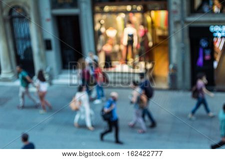Blurry view of walking people in Beyoglu district of Istanbul