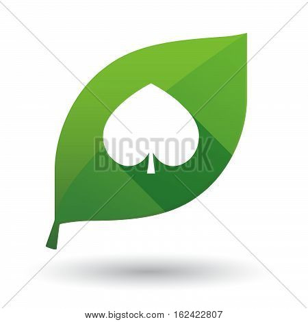 Isolated Green Leaf With  The  Spade  Poker Playing Card Sign