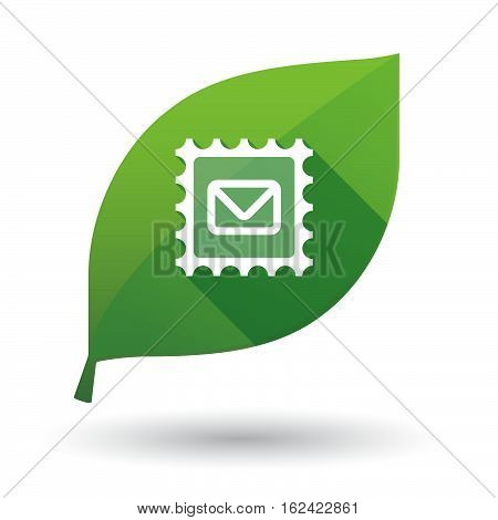 Isolated Green Leaf With  A Mail Stamp Sign
