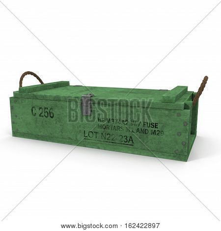 Old green wooden ammo case on white background. 3D illustration