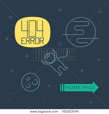 404 error page template for website. Space landscape with astronaut and planets. Vector illustration in line style for web design page