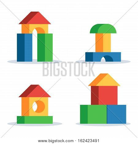 Colorful wooden blocks toy, set building game castle and house. Vector flat style illustration isolated on white background