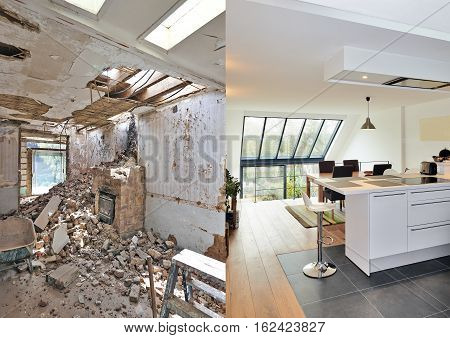 Modern Open Kitchen In Renovated House