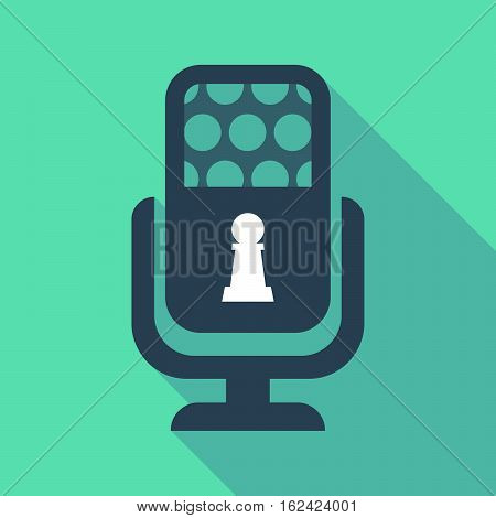 Long Shadow Microphone  With A  Pawn Chess Figure