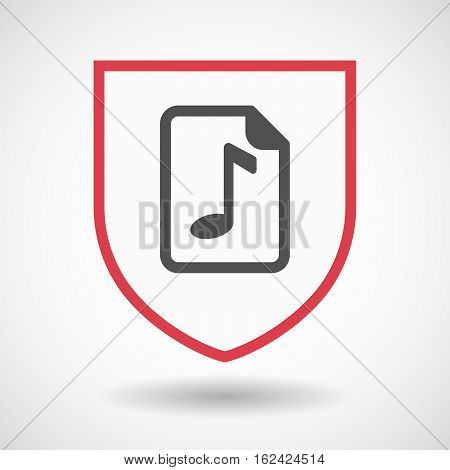 Isolated Shield With  A Music Score Icon