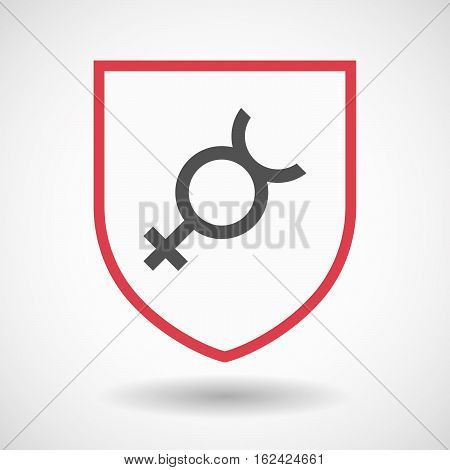 Isolated Shield With  The Mercury Planet Symbol