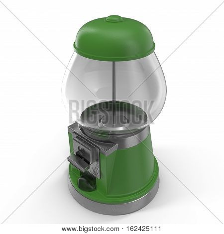 Bubble gum vending machine isolated over white background. Green color. 3D illustration