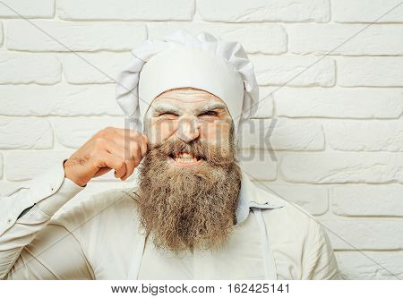 Angry Man Cook Pulls Hair