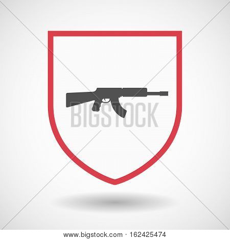 Isolated Shield With  A Machine Gun Sign