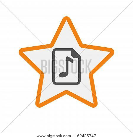 Isolated Star With  A Music Score Icon