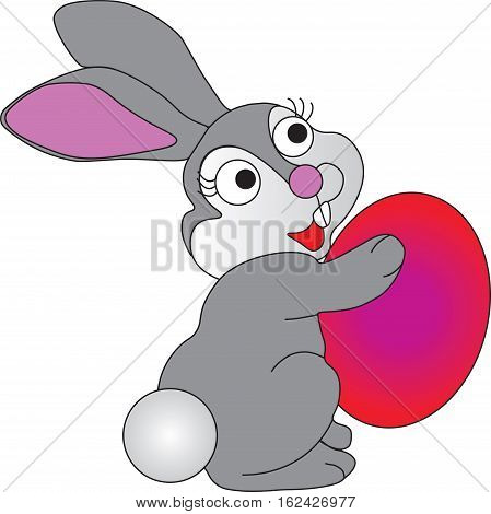 Easter bunny with Easter eggs on a white background.