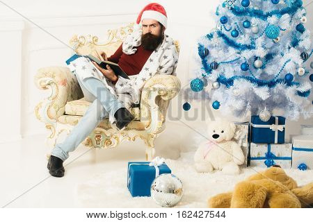 Christmas Bearded Man With Presents
