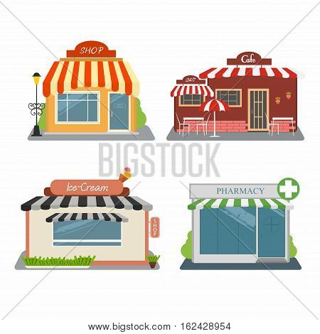 Shop cafe ice-cream store pharmacy. Set of different colorful stores. Street buildings facade. Infographic elements. Vector illustration