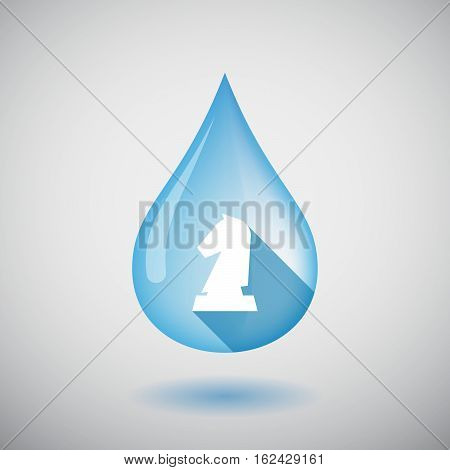 Isolated Water Drop With A  Knight   Chess Figure